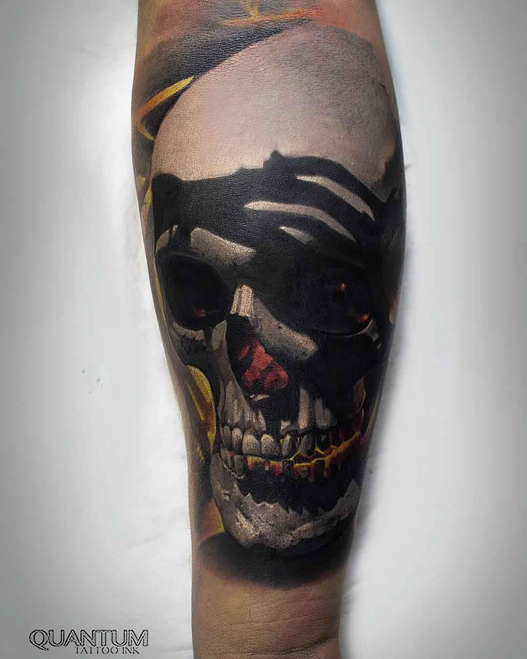 arm tattoo realistic skull