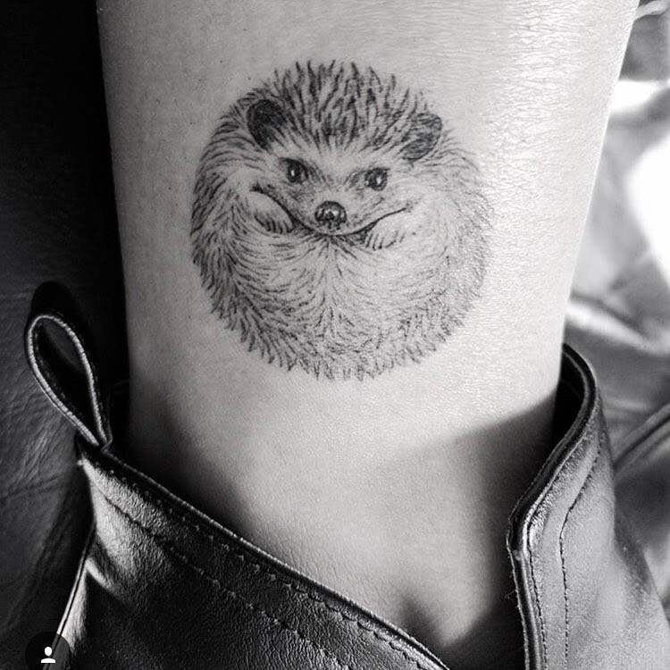 hedgehog tattoo on ankle