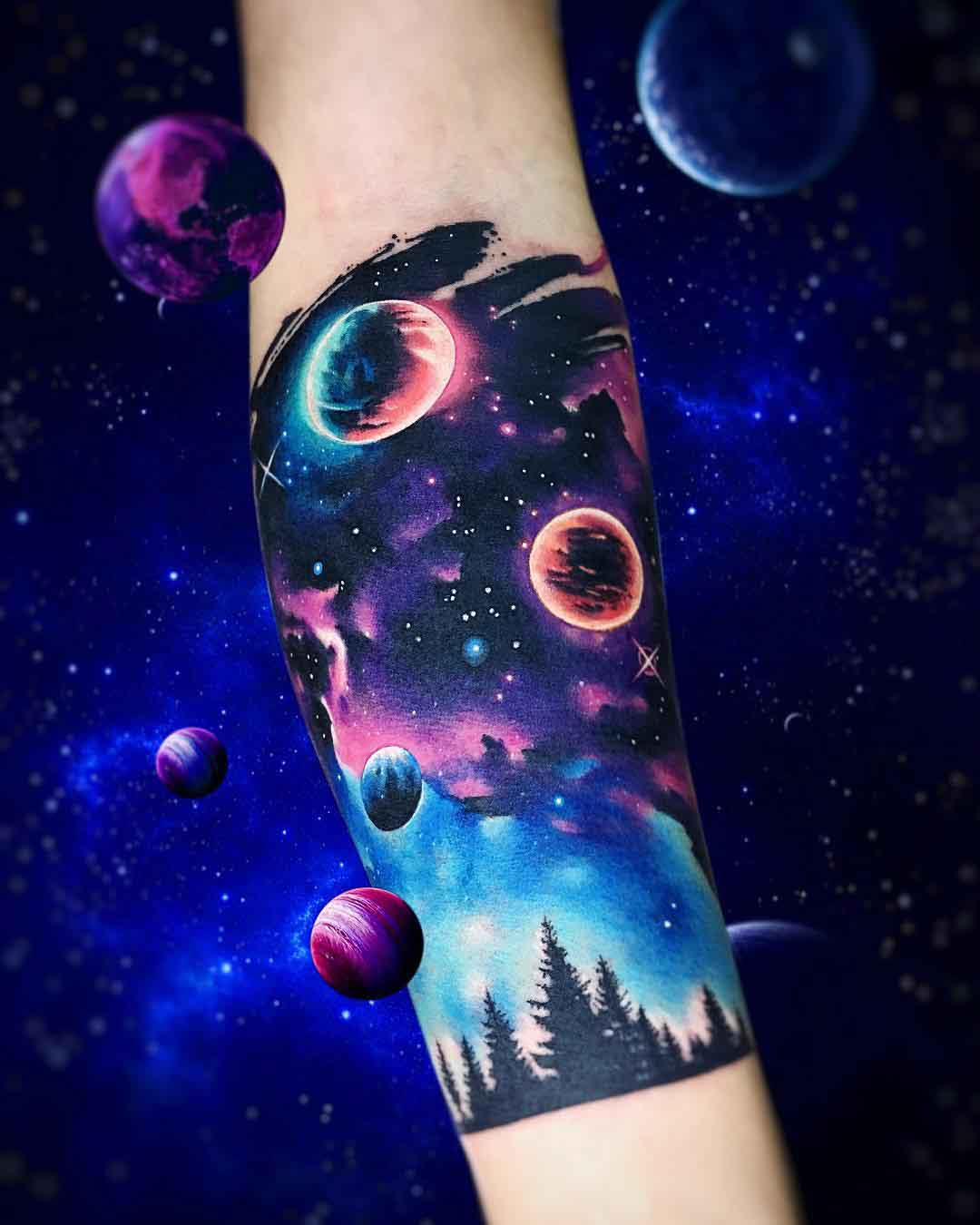 forearm space tattoo