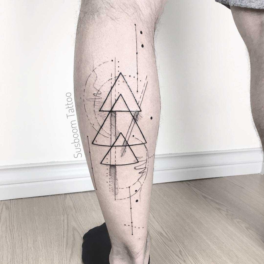 triangles tattoo on calf