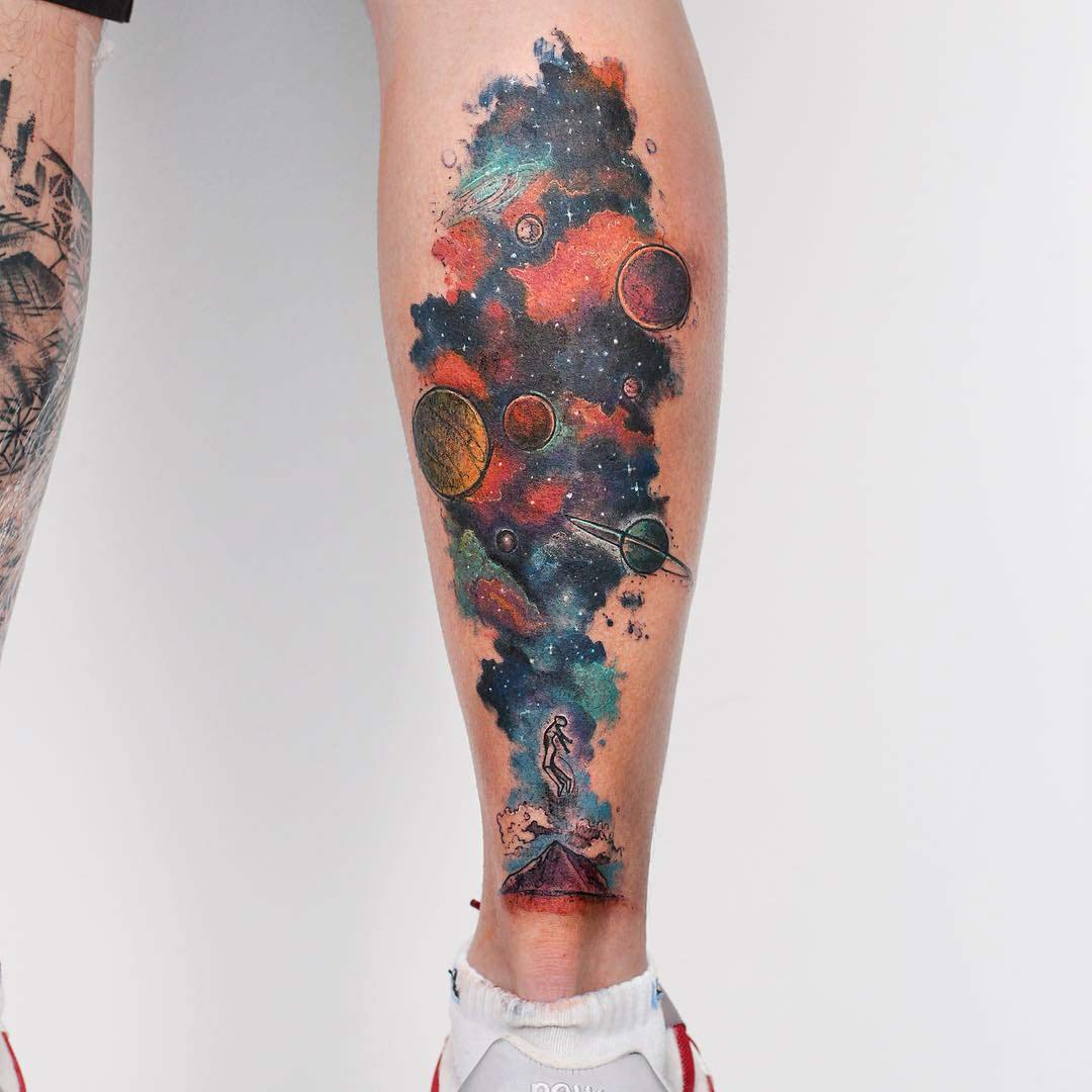 calf watercolor tattoo space