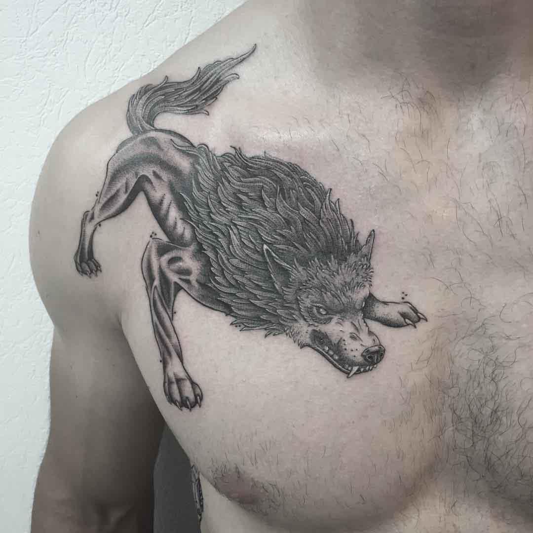 chest tattoo wolf demon