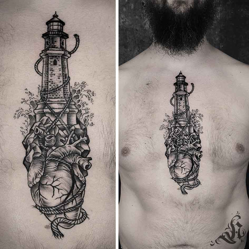 chest tattoo lighthouse and heart