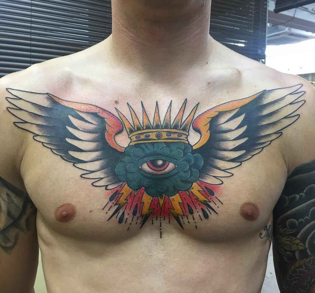 chest wings tattoo neo-traditional style