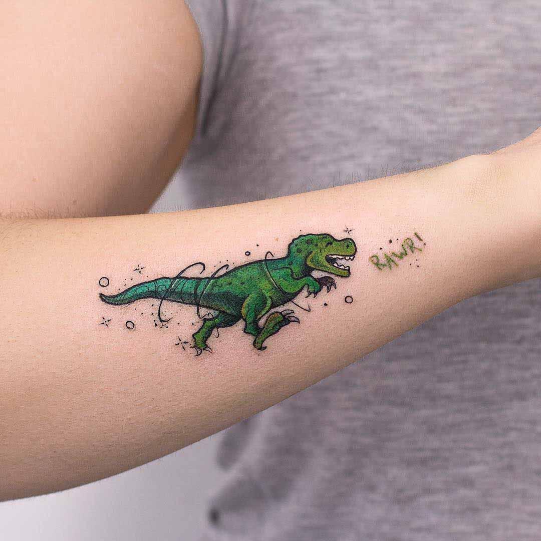 arm tattoo dinosaur T-Rex