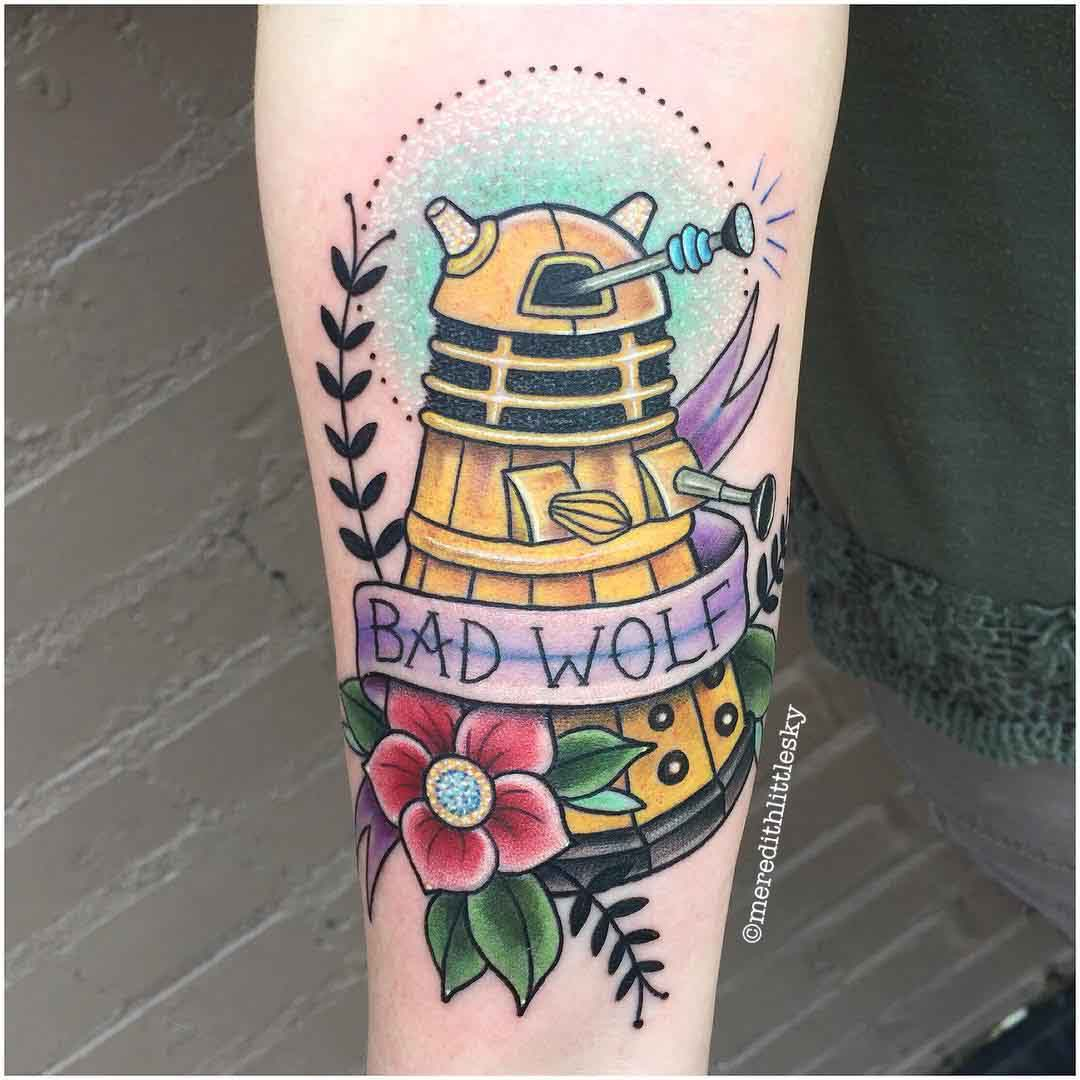 neo-traditional tattoo dalek doctor who