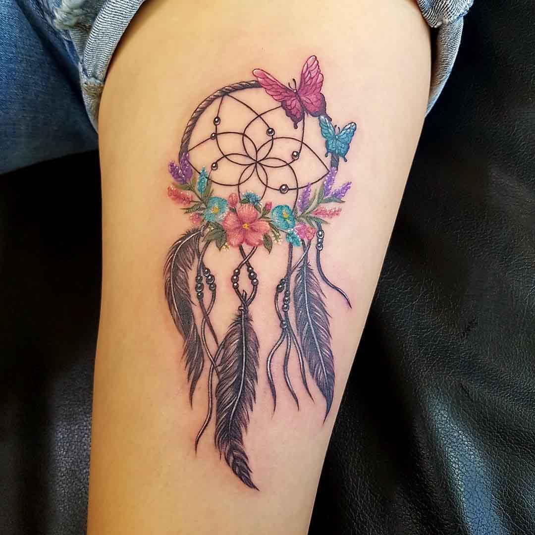 dreamcatcher tattoo with butterflies
