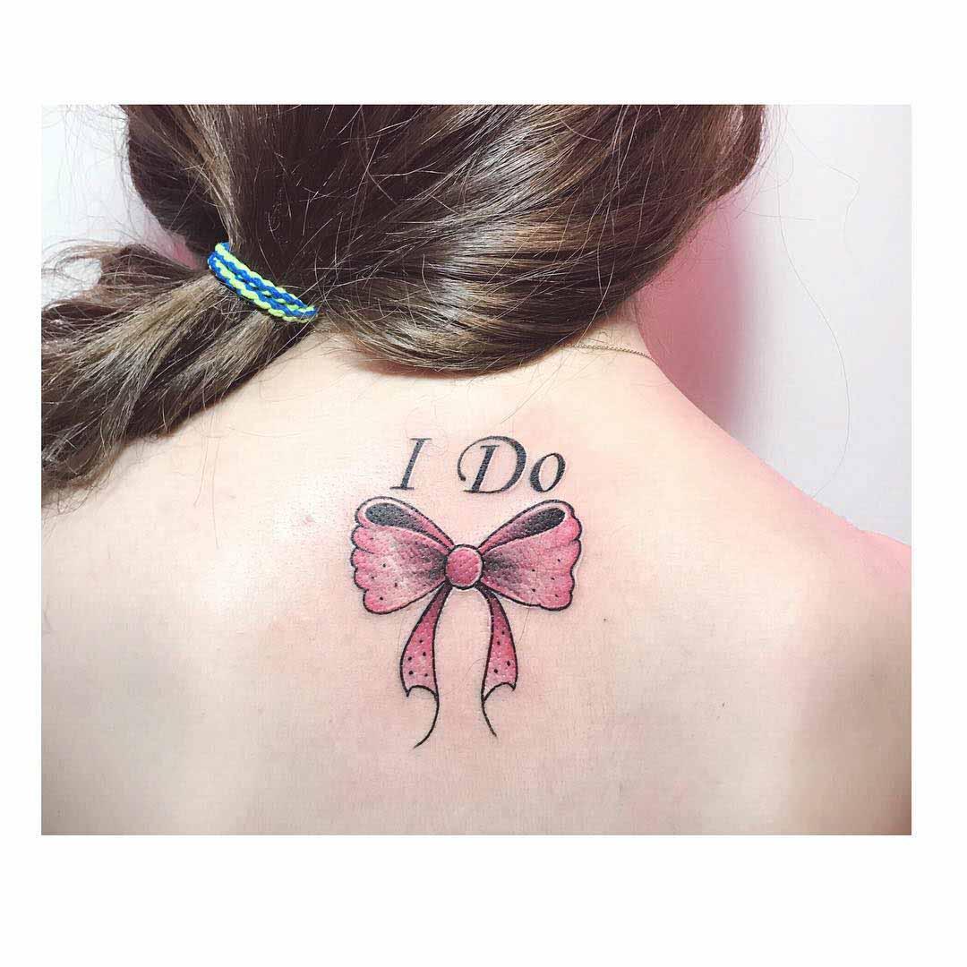 bow tattoo I do on back neck