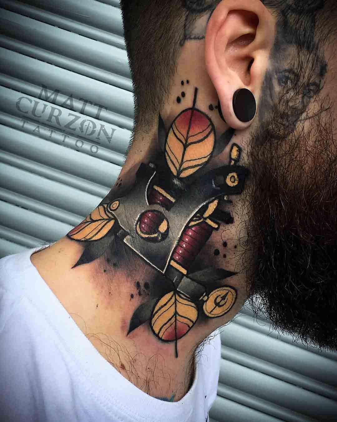 tattoo gun tattoo on neck