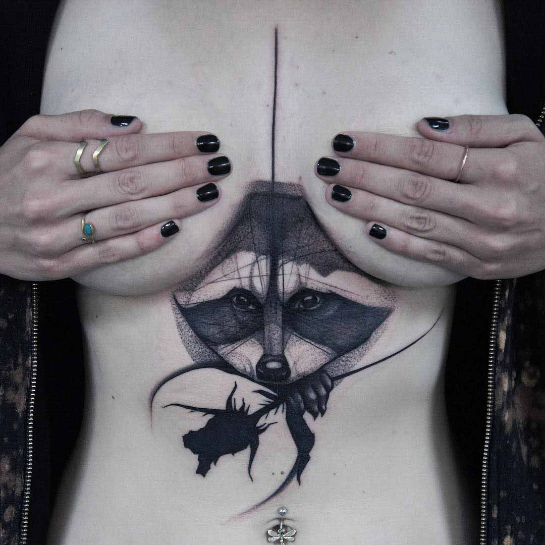 underboob tattoo raccoon