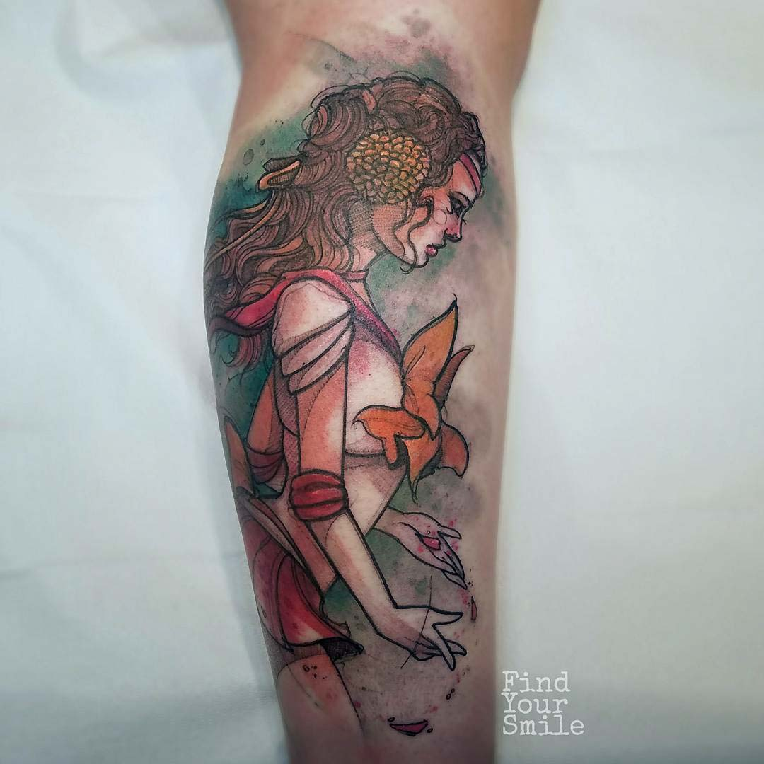 princess padme tattoo watercolor style sailor moon style