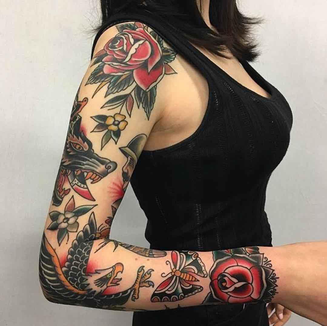 full sleeve traditional tattoo