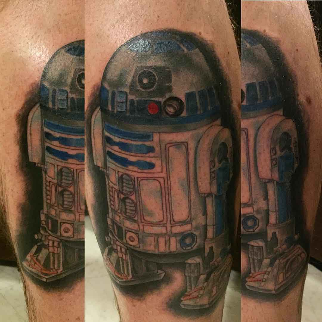 star wars tattoo R2D2 watercolor style