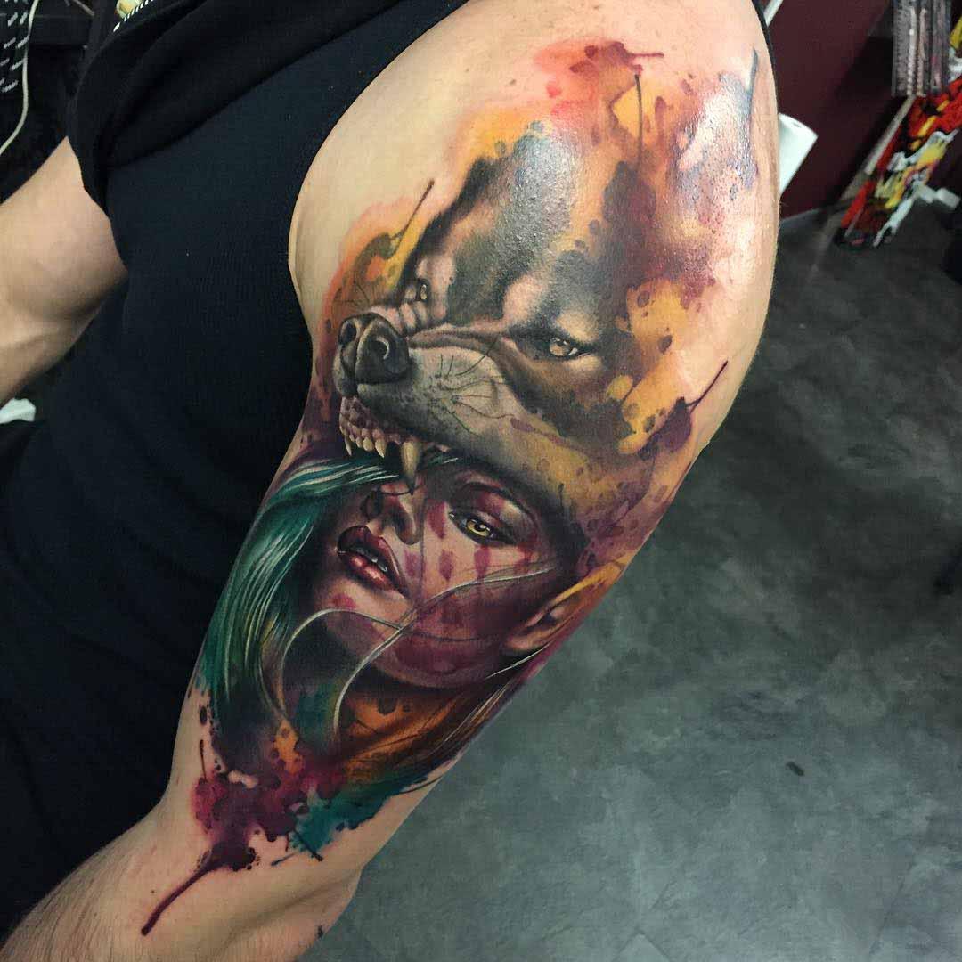 shoulder tattoo wolf girl realistic