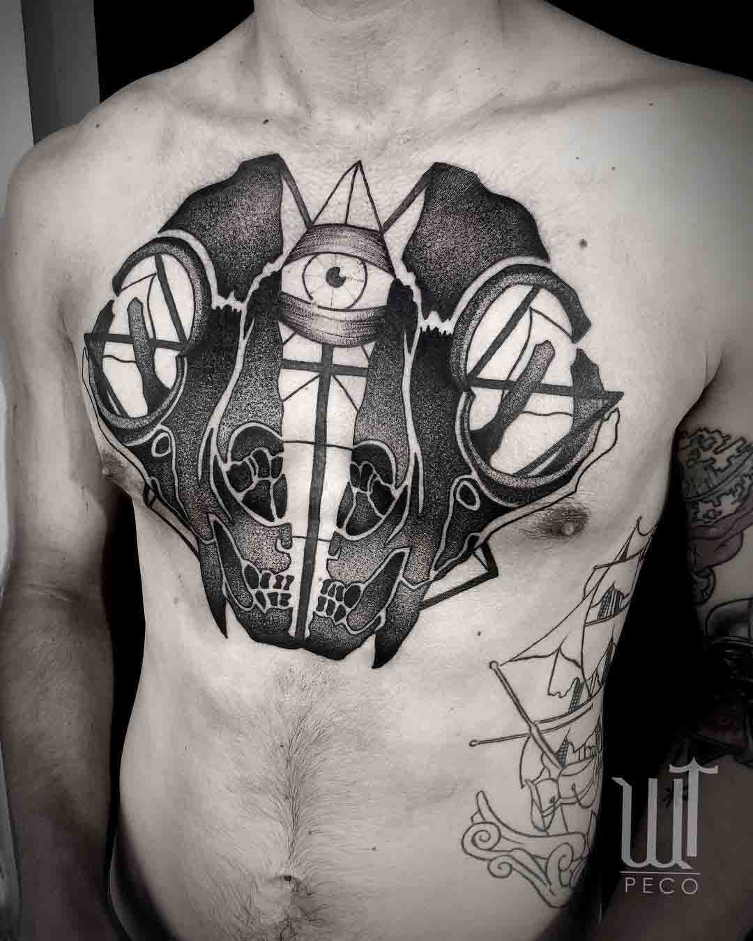 chest tattoo skull opened