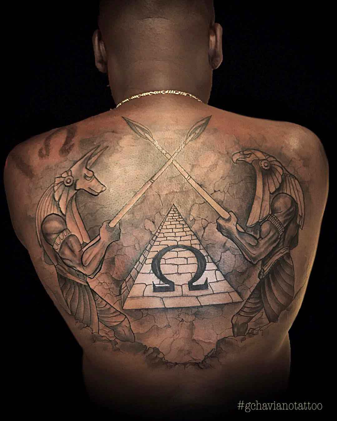 back tattoo egyptian gods