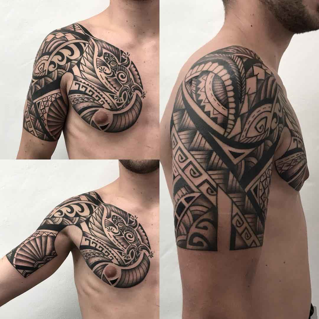 shoulder tattoo dragon maori style