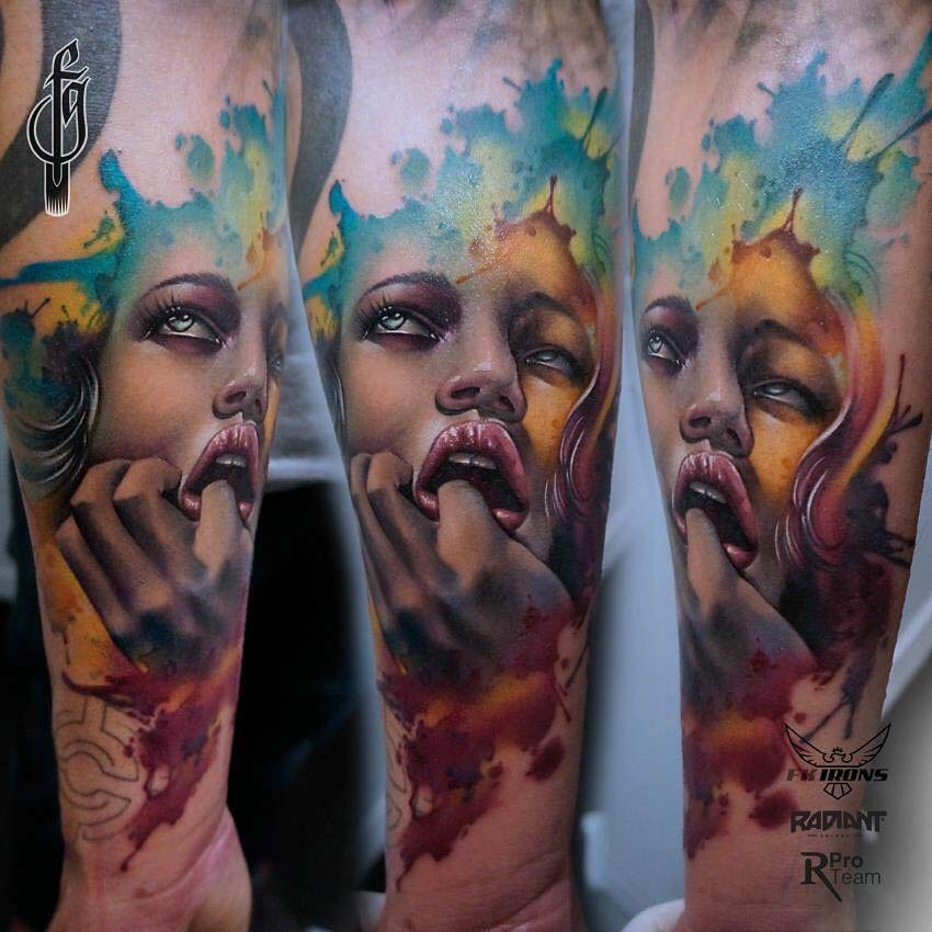 arm tattoo watercolor style portrait