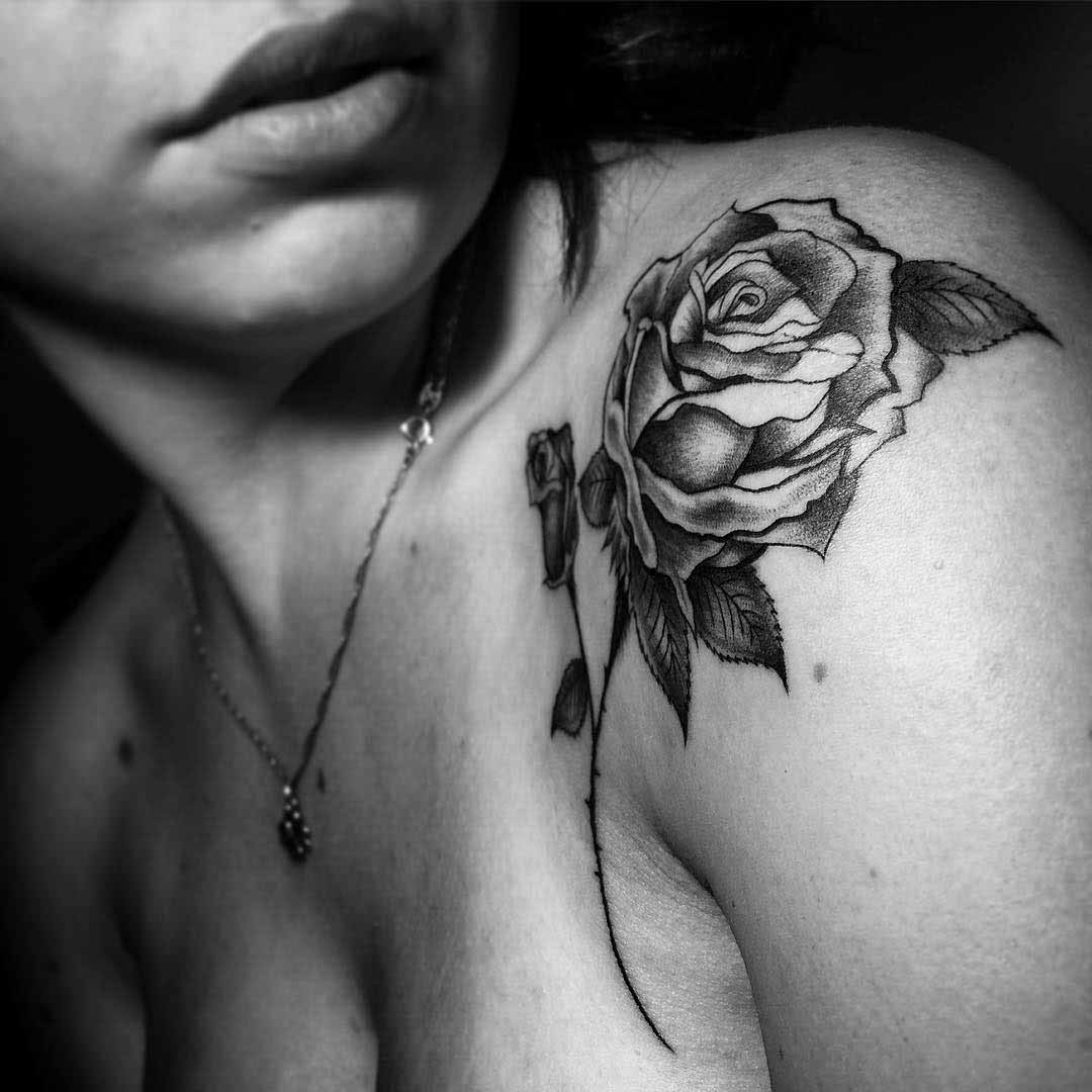 front shoulder rose tattoo for woman