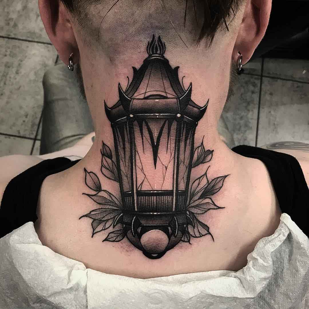 nape tattoo lantern