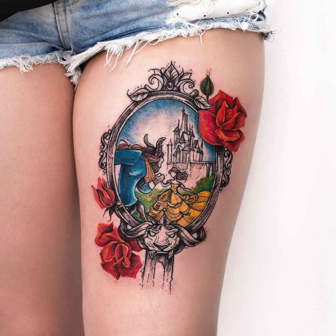 thigh tattoo Beauty and the Beast
