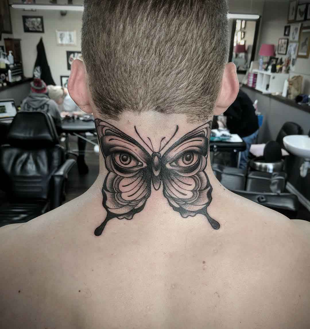neck tattoo butterfly