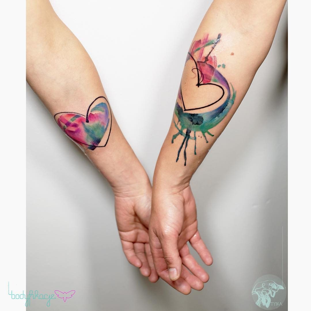 hearts tattoos for couple