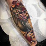 Dinosaur Tattoo Neo-Traditional Style
