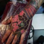 Oriental Flower Tattoo on Hand