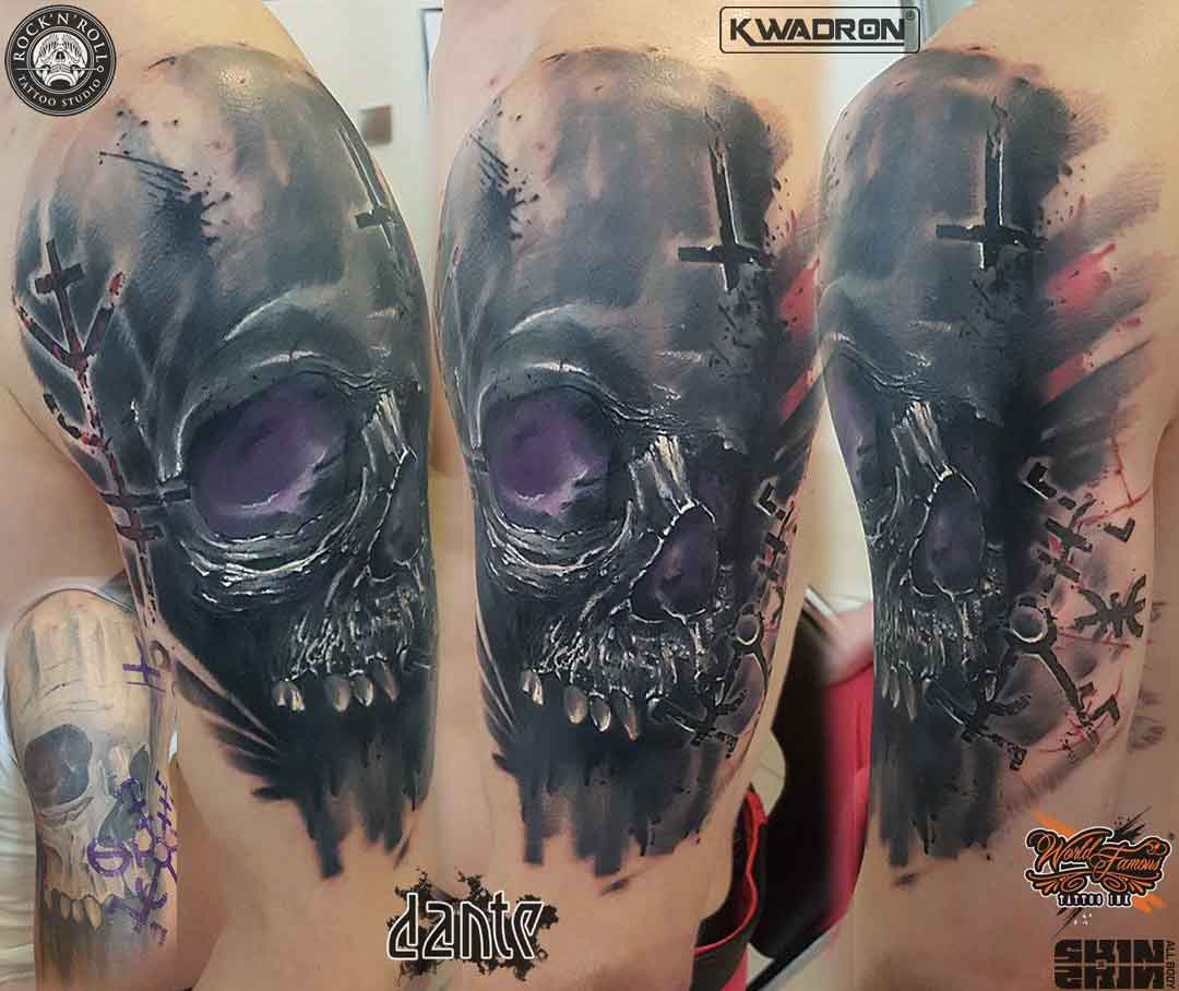 shoulder skull cover-up tattoo