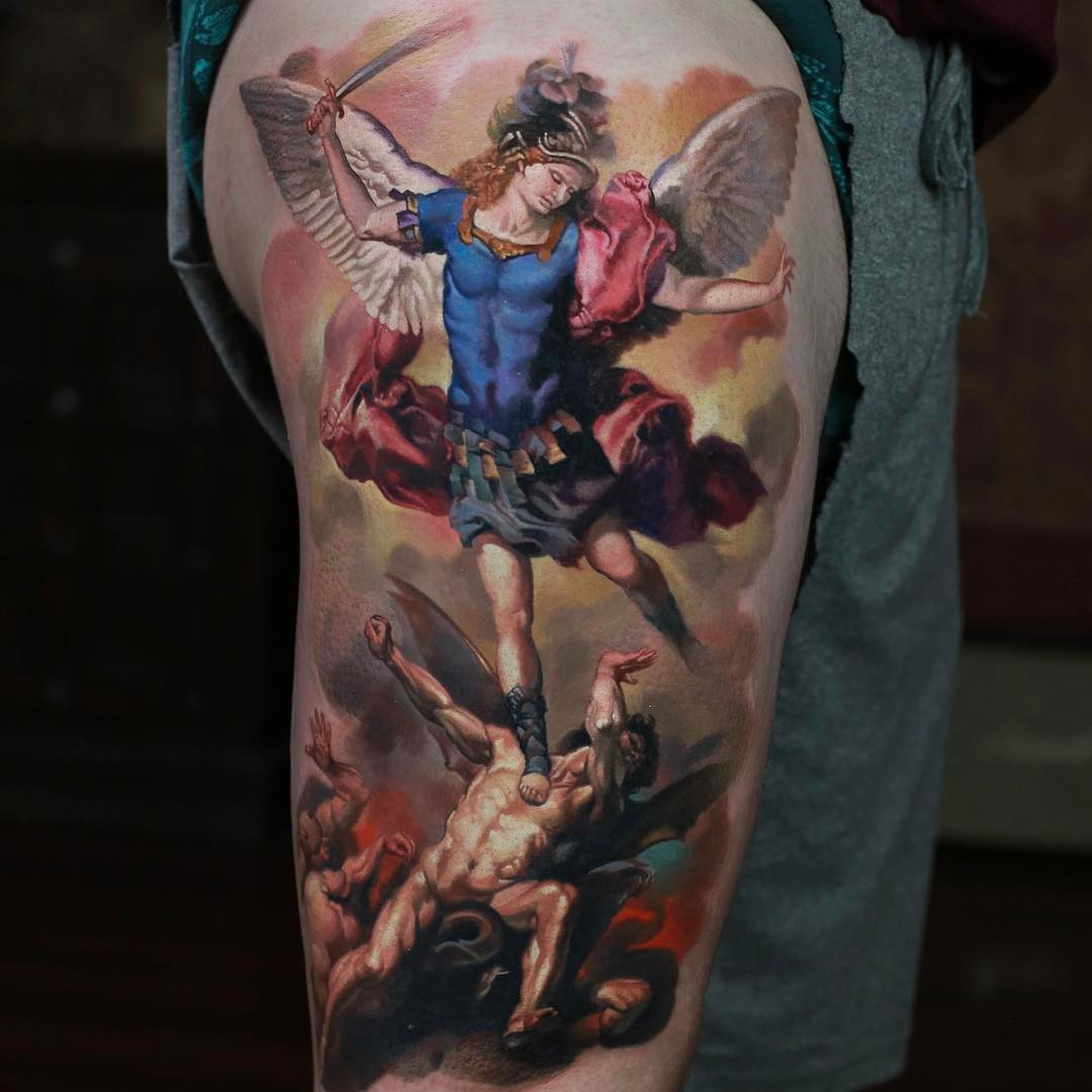 religious shoulder tattoo st. Michael