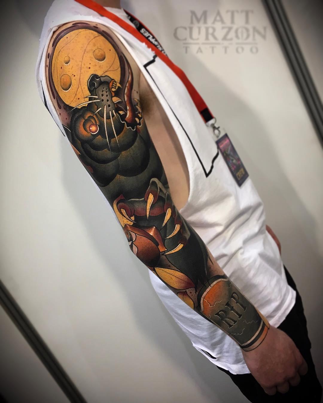 tattoo sleeve werewolf