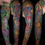 Colorful Aztec Tattoo Sleeve