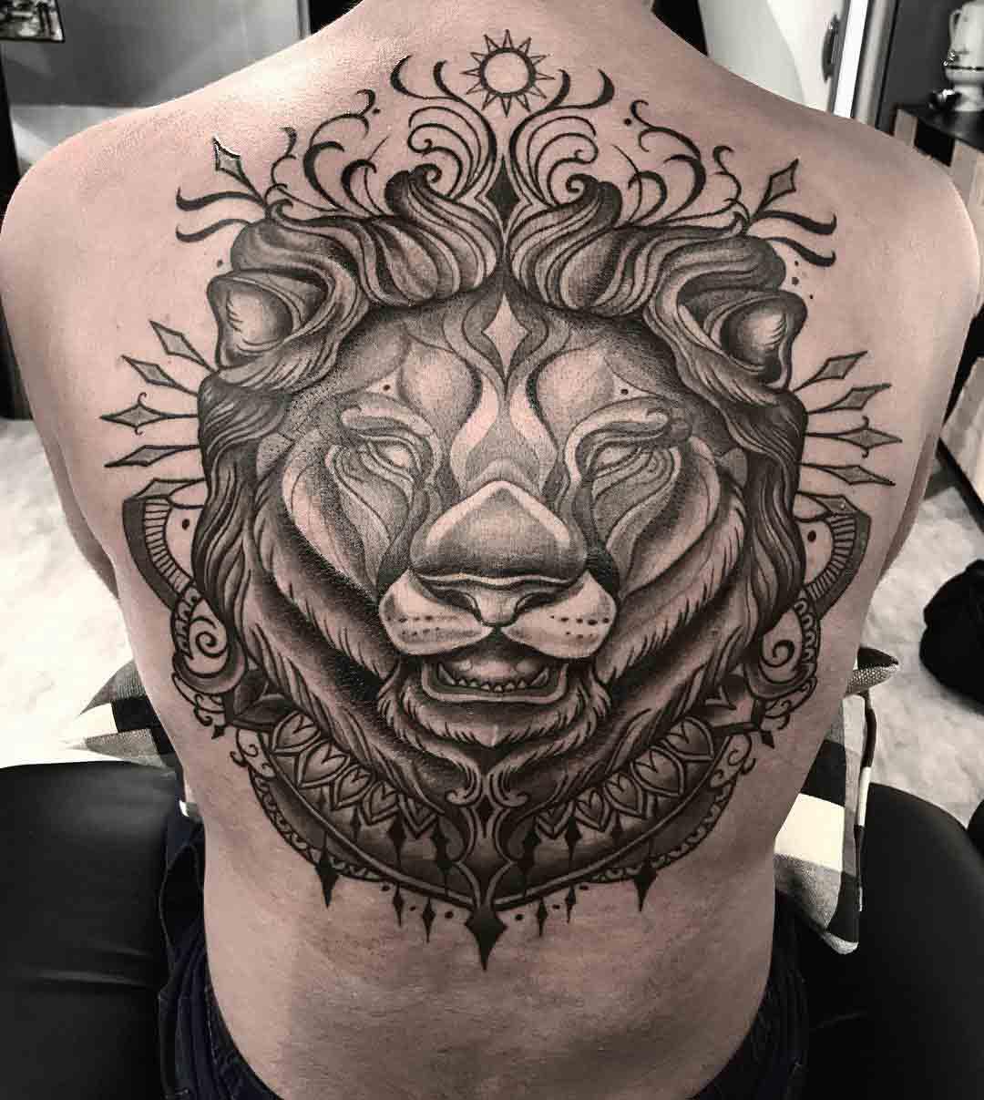upper back tattoo lion dotwork style