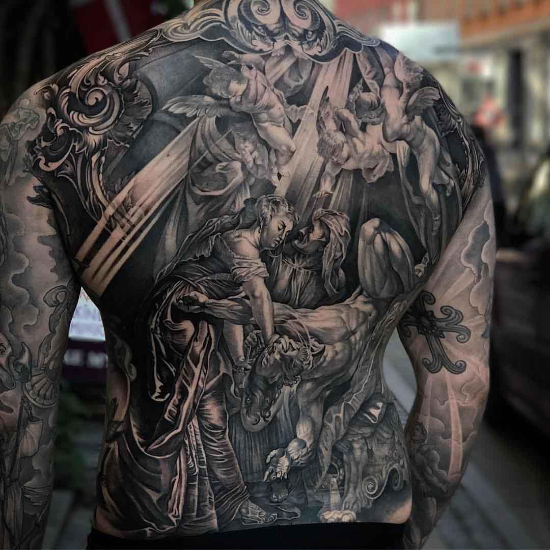 amazing religious tattoo on full back