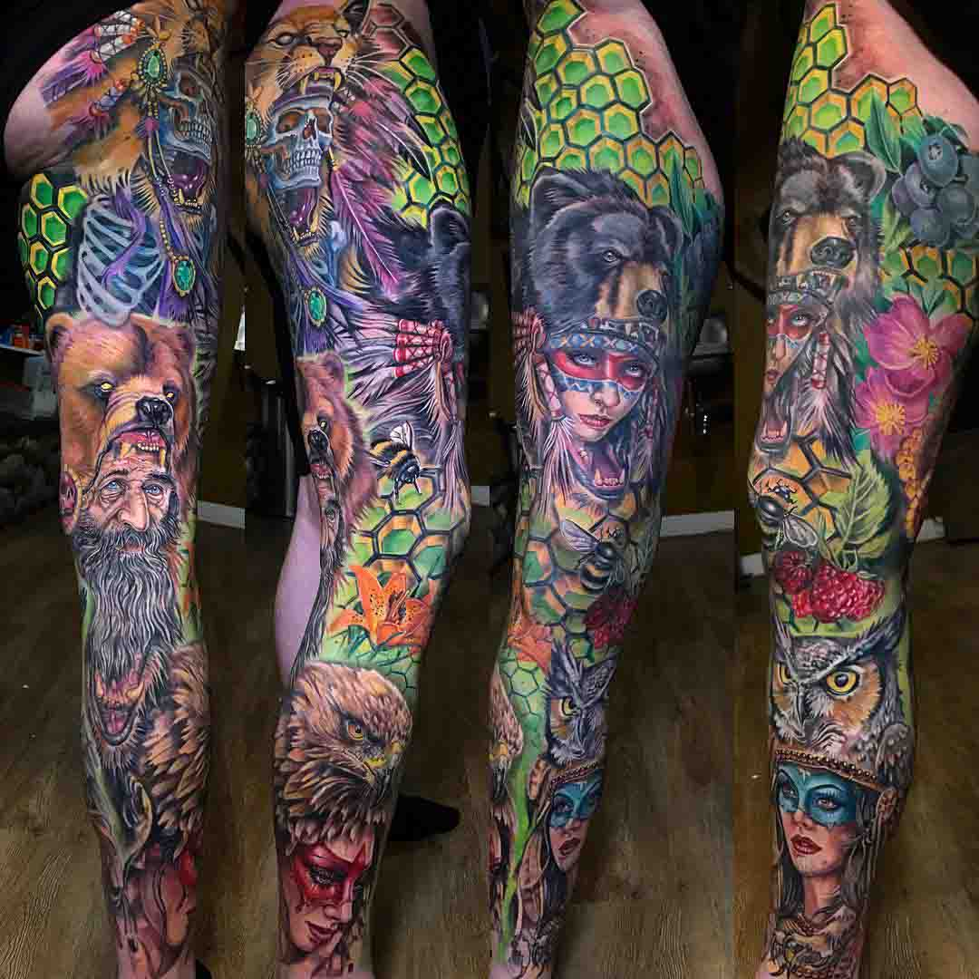leg tattoo sleeve guardians of the natural
