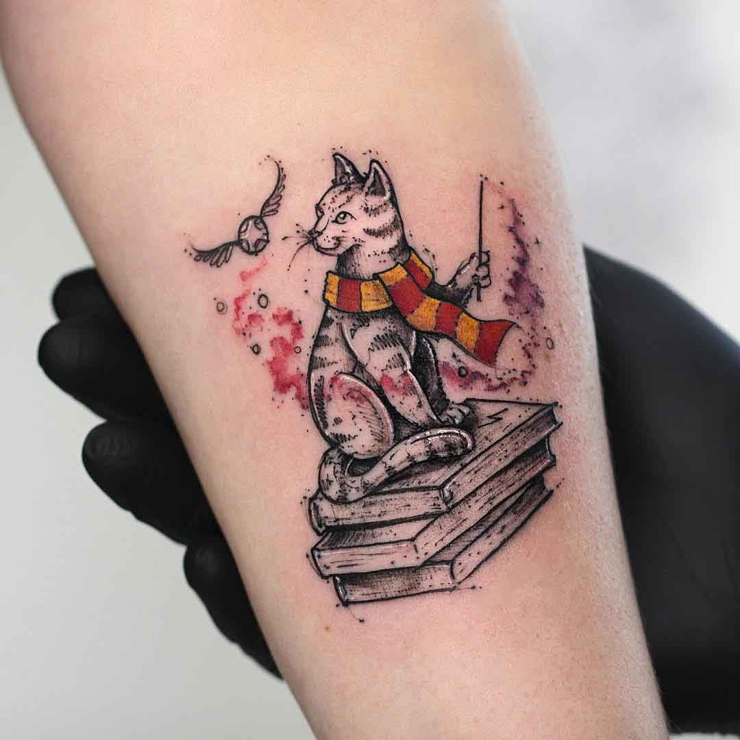cat tattoo harry potter style
