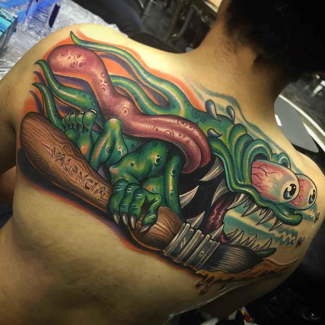 upper back new school tattoo