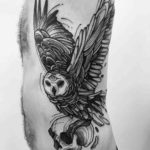 Owl With Skull Tattoo on Side