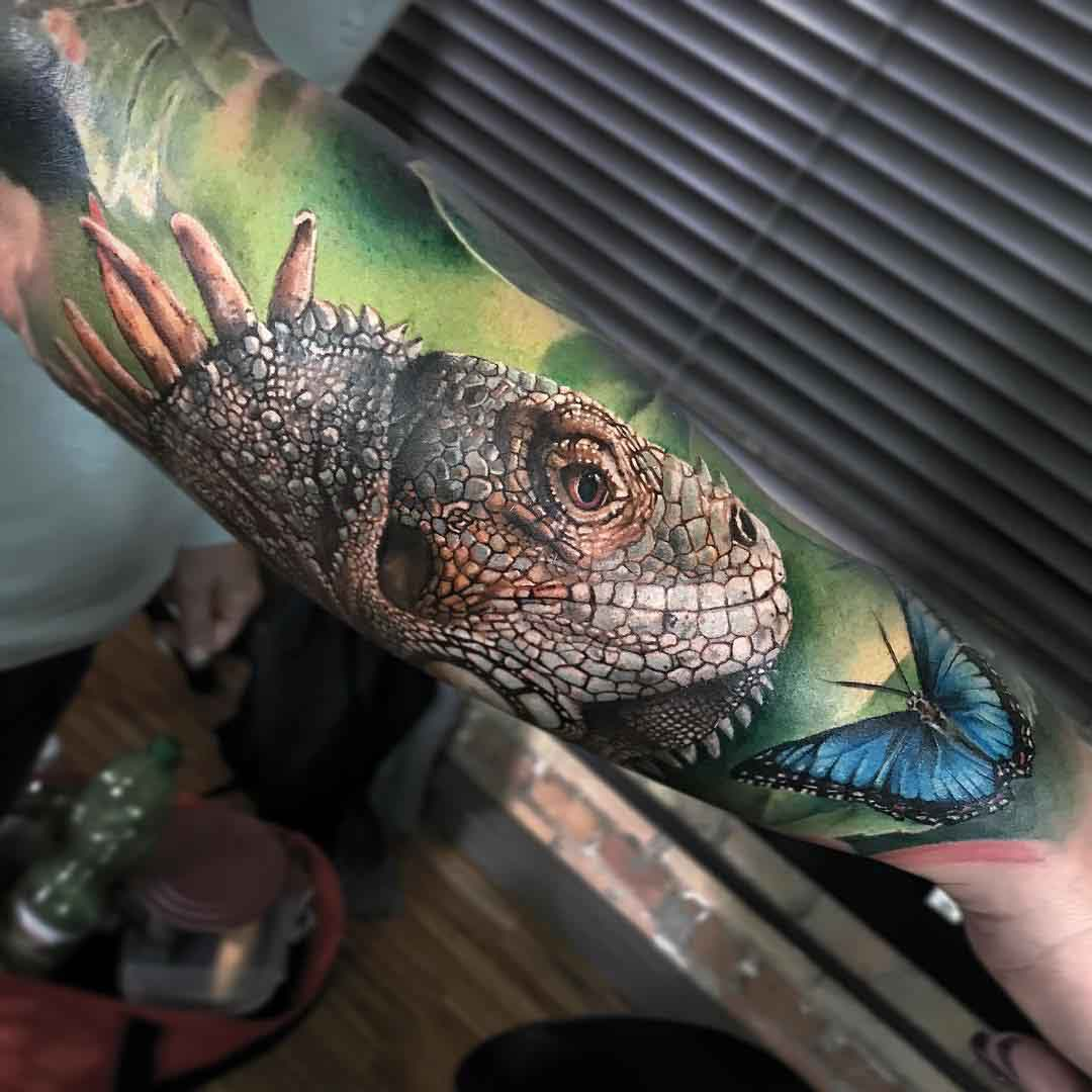 iguana tattoo on arm lizzard