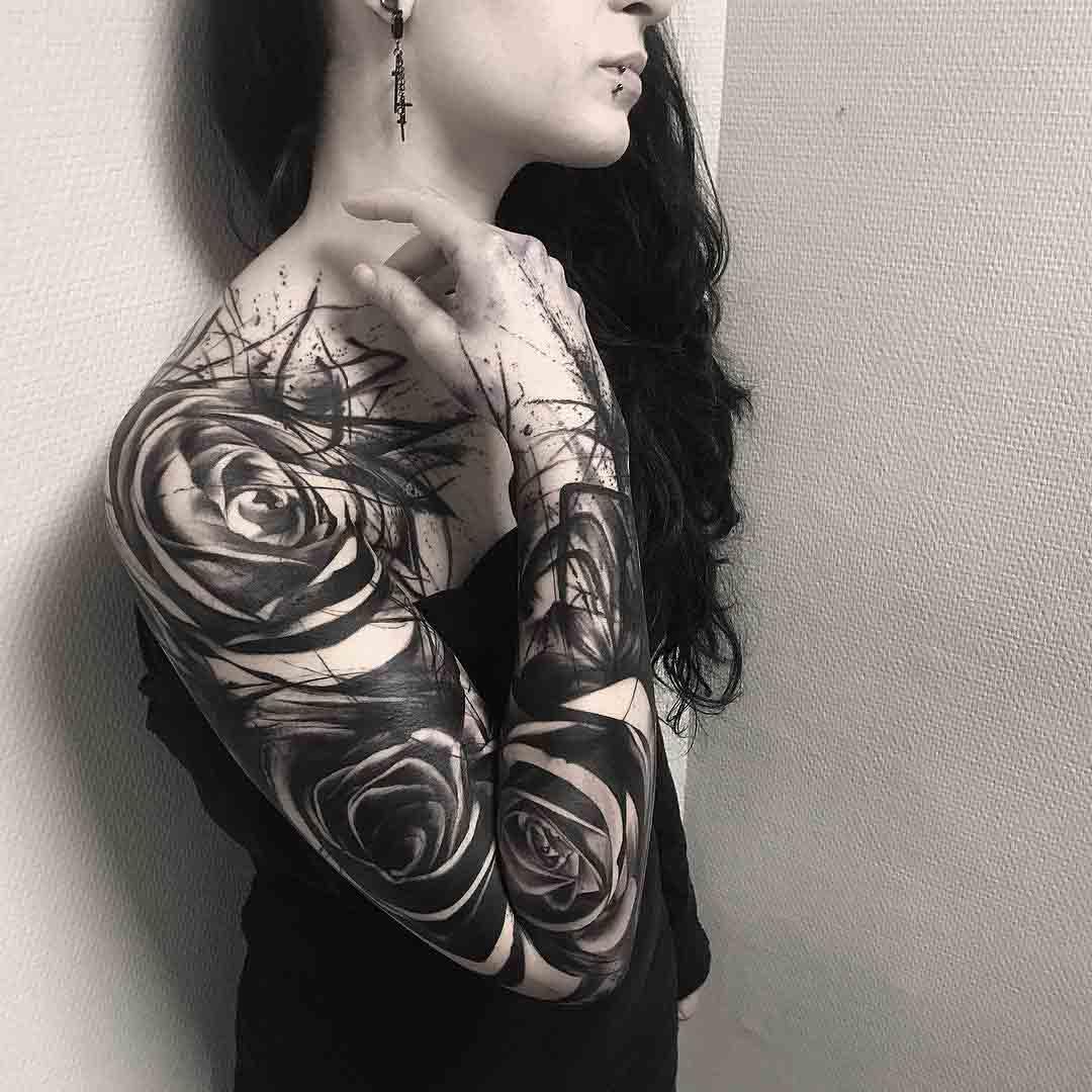 black roses tattoo sleeve