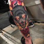 Wolf Tattoo on Calf