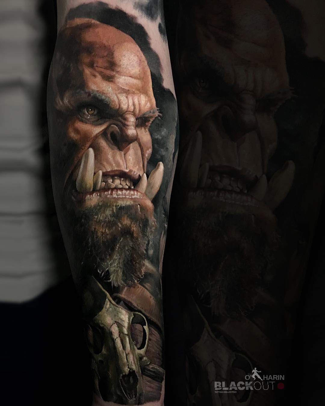 awesome realistic orc portrait tattoo world of warcraft