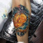 Yellow Space Rose Tattoo