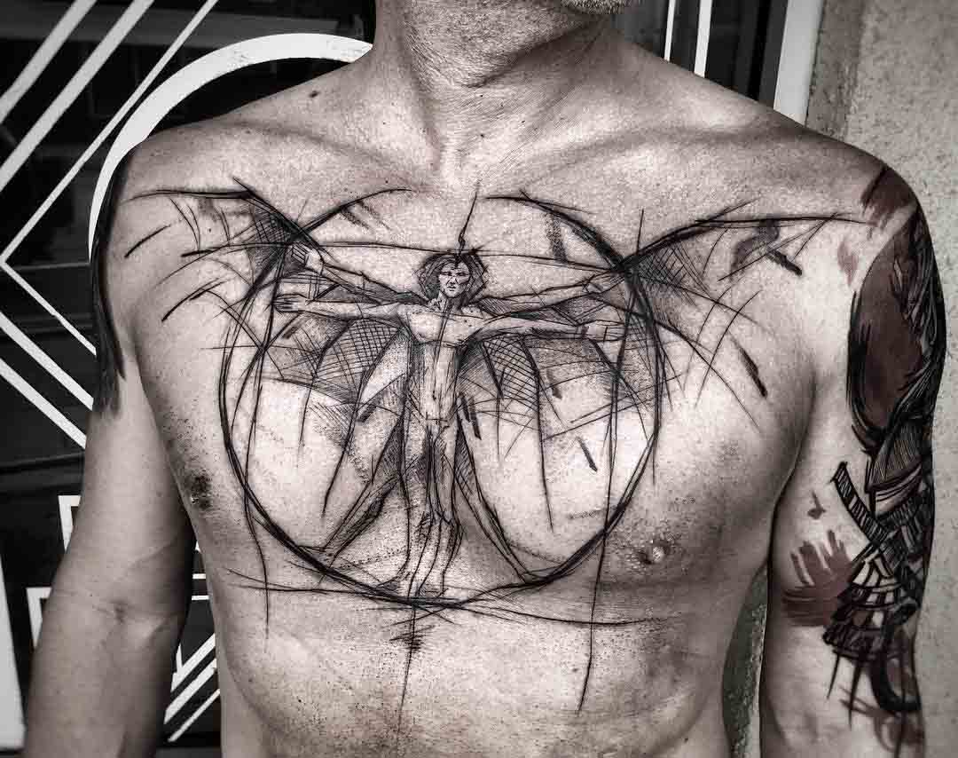 chest tattoo da Vinci man