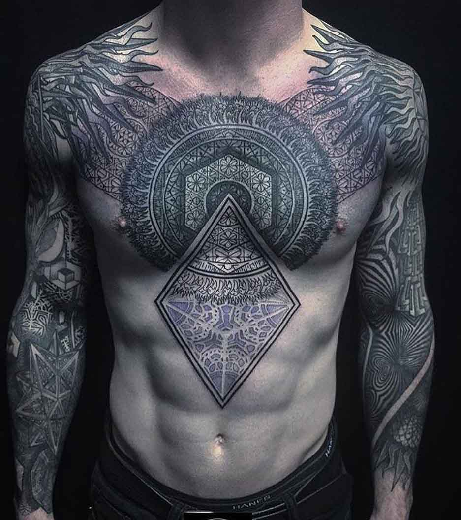 ornamental tattoos on chest and stomach