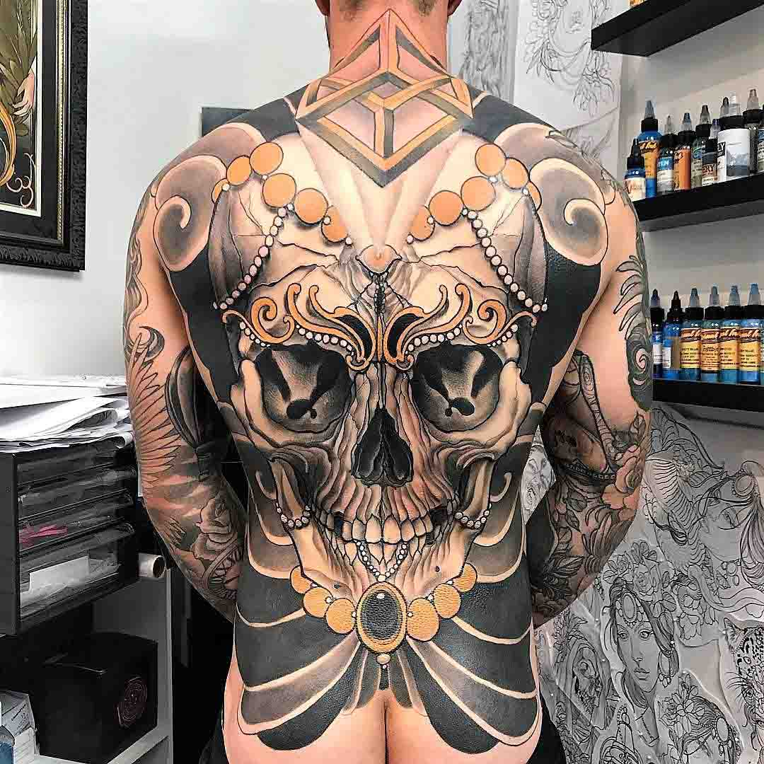 skull tattoo on full back