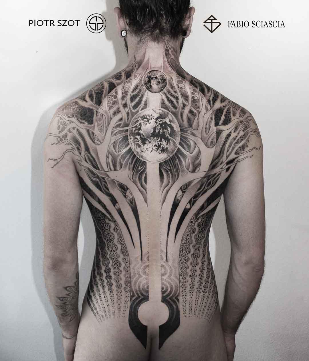 back tattoo of a world tree