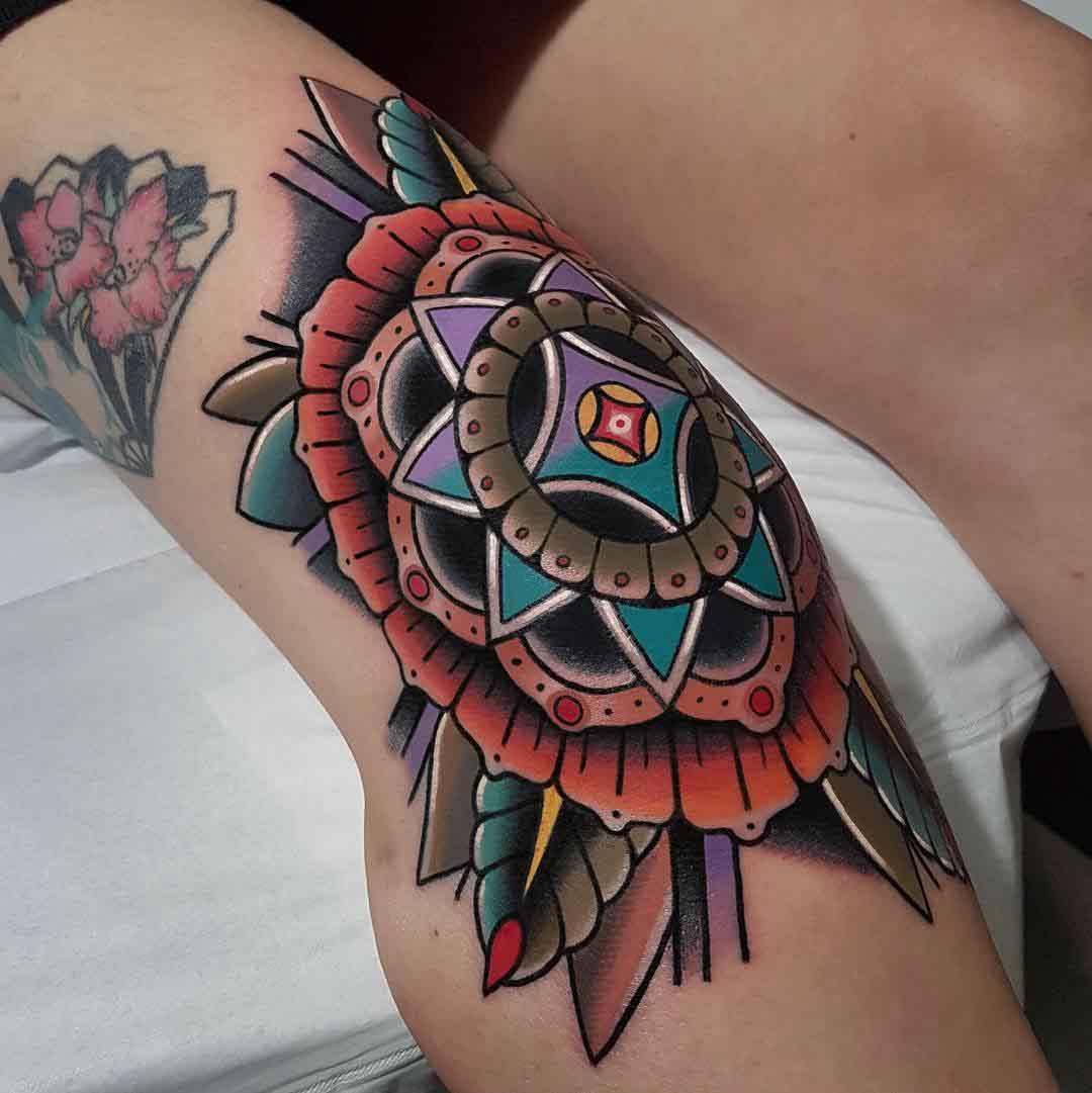 traditional knee tattoo