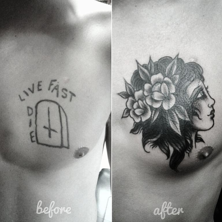 chest tattoo cover up old school